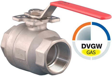 DVGW Gas Kugelhähne Edelstahl