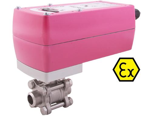 3-piece ball valve butt weld with ATEX E-actuator