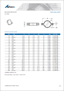 Data sheet pipe clamp without stem