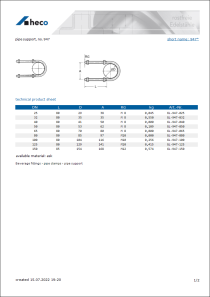 Data sheet pipe support, no. 947