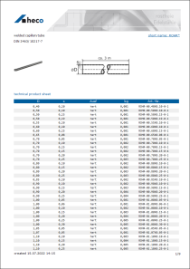 Data sheet welded capillary tube