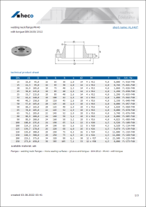 Data sheet welding neck flange PN 40