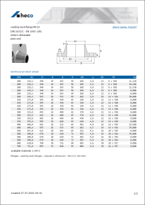 Data Sheet welding neck flange PN 10