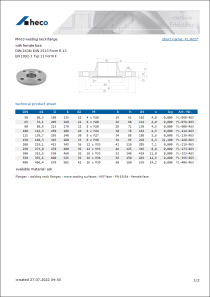 Data sheet PN 63 welding neck flange