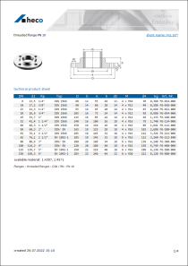 Data sheet threaded flange PN 16