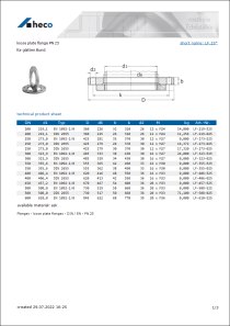 Data sheet loose plate flange PN 25