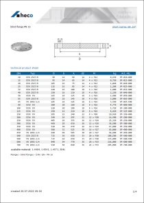 Data sheet blind flange PN 16