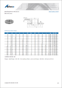 Data sheet plate flange PN 10 with groove
