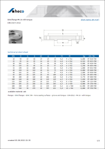 Data sheet blind flange PN 16 with tongue