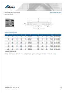 Data Sheet blind flange PN 40 with groove