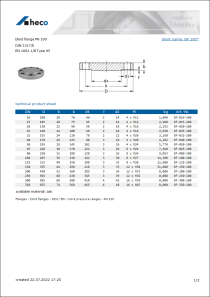 Data sheet blind flange PN 100