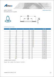 Data sheet gasket, Tesnit BA-U