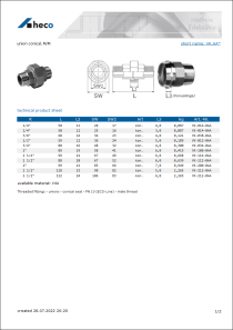 Data sheet union conical, M/M