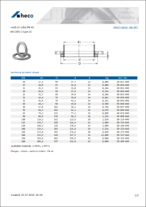 Data sheet weld-on collar PN 40