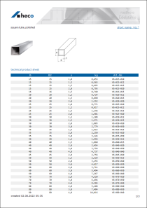 Data sheet square tube, polished