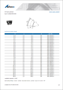 Data Sheet 45° bend, grinded
