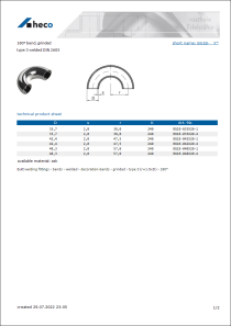 Data sheet 180° bend, grinded