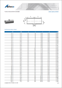 Data Sheet T-piece reduced short extended