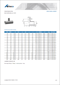 Data sheet reducing tee, long