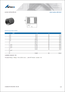 Data sheet socket 150 lbs (PN 10)