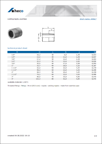 Data Sheet welding nipple, seamless