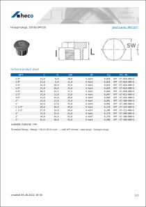 Data Sheet hexagon plugs, 150 lbs (PN 10)