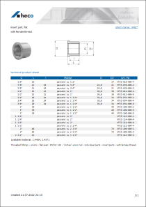 Data sheet insert part, flat