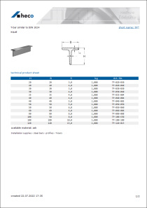 Data sheet T-bar similar to DIN 1024