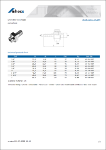 Data sheet union BW/ hose nozzle