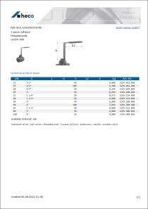 Data sheet ball valve, extended handle