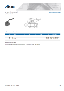 Data Sheet ball valve with NPT-thread