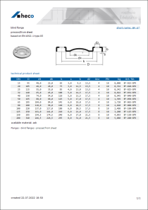 Data sheet blind flange