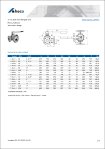 Data sheet 3-way ball valve flanged end