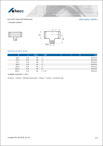 Data Sheet grooved T-piece, female thread
