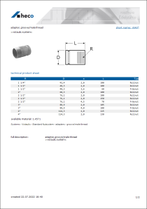Data sheet adapter, groove/male thread