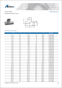 Data sheet T-bend, welded