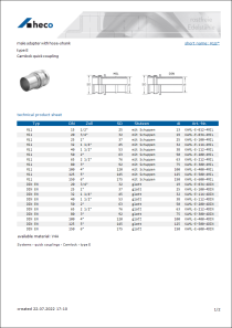Data sheet male adapter with hose-shank