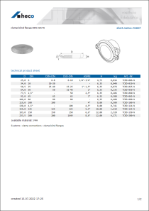Data sheet clamp blind flange DIN 32676