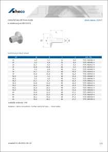 Data sheet clamp ferrule with hose nozzle