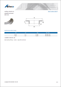 Data sheet welding collar PN 10