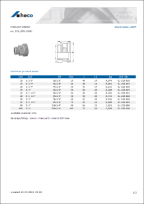 Data sheet male part adapter