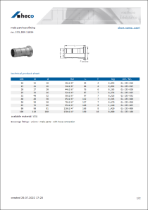Data Sheet male part hose fitting