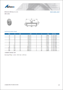 Data Sheet blind nut with boss, no. 221