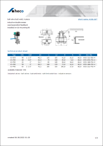 Data Sheet ball valve butt weld, 3-piece