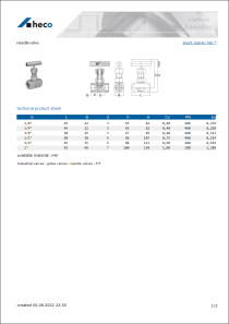 Data sheet needle valve