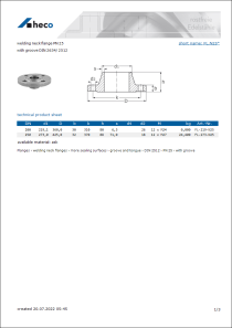 Data sheet welding neck flange PN 25