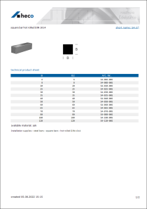 Data Sheet square bar hot rolled DIN 1014