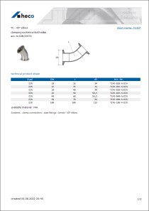 Data sheet TC - 45° elbow