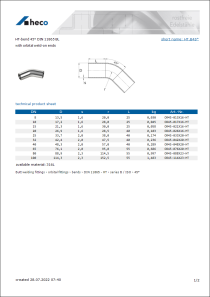 Data sheet HT-bend 45° DIN 11865 BL