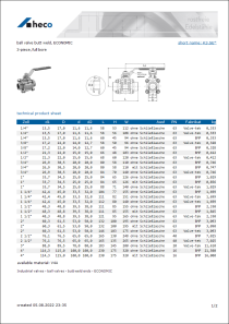 Data sheet ball valve butt weld, ECONOMIC